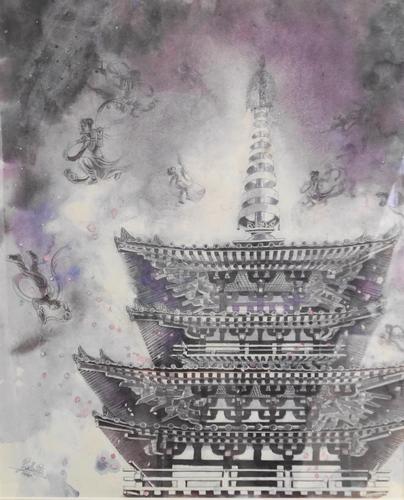 飛天舞う (薬師寺東塔) 西野 陽子